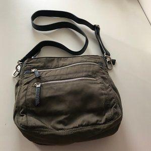 Khaki Nylon Bag w/Denim-Coloured Cotton Interior